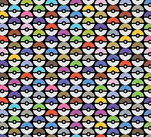 Pokeballs Pattern [BLACK] by Daniel Bevis