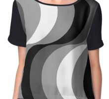 Large Seventies zigzag black and white waves Chiffon Top