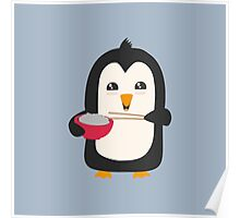 Penguin with rice   Poster