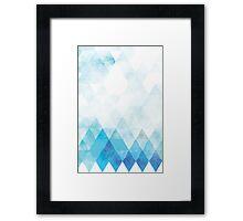 Watercolor Blue Scandinavian triangle Pattern Framed Print