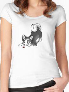 Little Dark Grey Husky Women's Fitted Scoop T-Shirt