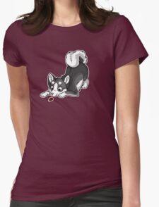 Little Dark Grey Husky Womens Fitted T-Shirt
