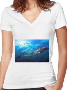 Mosasaur With Prey Women's Fitted V-Neck T-Shirt