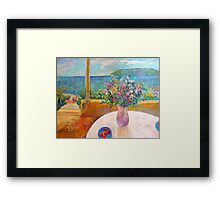 Terrace and the Sea Framed Print