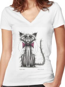 Posh puss Women's Fitted V-Neck T-Shirt