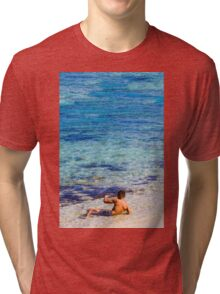 Sexy guy at the beach Tri-blend T-Shirt