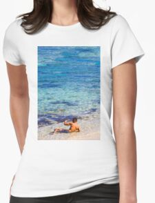 Sexy guy at the beach Womens Fitted T-Shirt