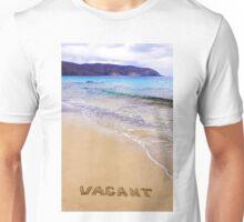 Word Vacant written on sand, on a beautiful beach Unisex T-Shirt
