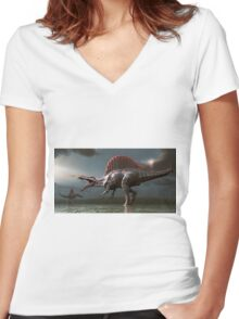 Spinosaurus Women's Fitted V-Neck T-Shirt