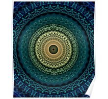 Mandala in yellow, green and blue tones Poster
