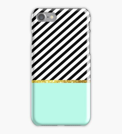 Mint green and gold striped phone case iPhone Case/Skin