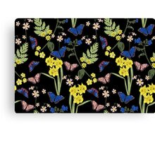 Floral botanical print with butterflies and wild flowers Canvas Print