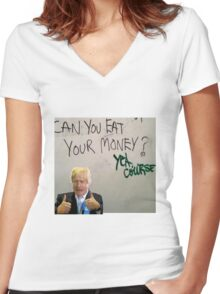 Eat your money, Boris Women's Fitted V-Neck T-Shirt