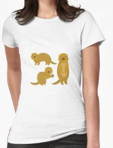 Squirrels with an Acorn Womens Fitted T-Shirt