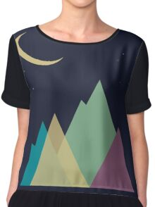 Multi-colored mountains and the moon. Active tourism Chiffon Top