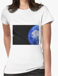 Moon and Earth Womens Fitted T-Shirt