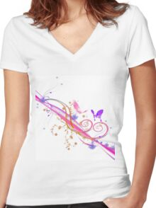 Buttefly Women's Fitted V-Neck T-Shirt