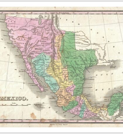 Vintage Map of Mexico (1827) Sticker