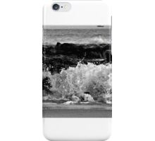 Black and White Sunset Waves over the Jetty                    0743 iPhone Case/Skin