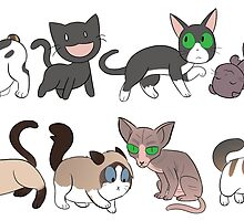 8 Sad Cat Stickers by paledogstudios