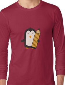 Penguin with pen   Long Sleeve T-Shirt
