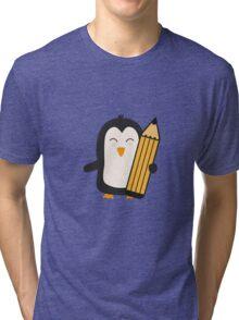 Penguin with pen   Tri-blend T-Shirt