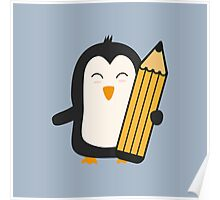 Penguin with pen   Poster