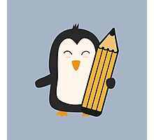 Penguin with pen   Photographic Print