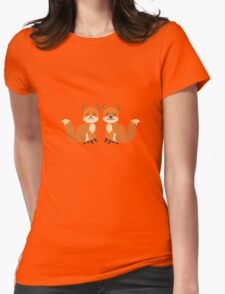 Cute Foxes Womens Fitted T-Shirt