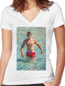 Sexy french guy at the beach in Saint Tropez, France Women's Fitted V-Neck T-Shirt