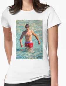 Sexy french guy at the beach in Saint Tropez, France Womens Fitted T-Shirt