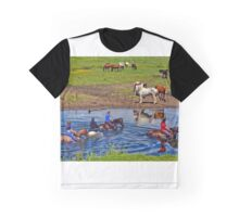 Horse riding in a river, near Ogmore Castle, Wales Graphic T-Shirt
