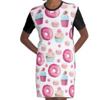 Pink Strawberry Sweets & Treats Graphic T-Shirt Dress