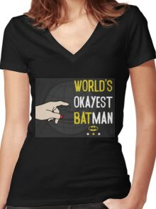 World's okayest batman funny cartoon cool retro funny shirts and clothing design Women's Fitted V-Neck T-Shirt
