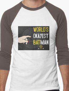 World's okayest batman funny cartoon cool retro funny shirts and clothing design Men's Baseball ¾ T-Shirt