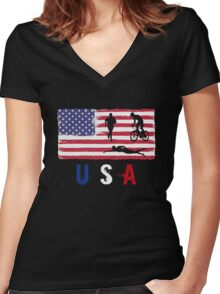 USA Triathlon 2016 competition swim bike run funny t-shirt Women's Fitted V-Neck T-Shirt