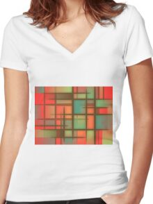 Awesome Colorful Abstract pattern Women's Fitted V-Neck T-Shirt