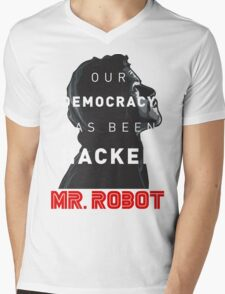 Mr Robot Our Democracy Has Been Hacked Mens V-Neck T-Shirt