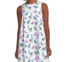 Watercolor Tropical Birds A-Line Dress