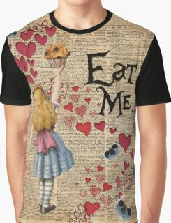 Alice in Wonderland,EAT ME.. Vintage Dictionary Art Graphic T-Shirt