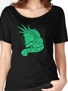 New York - Statue of Libery Skull (no background) Women's Relaxed Fit T-Shirt