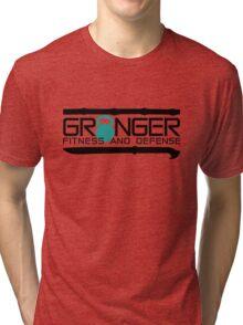Granger Fitness and Defense Teal Full logo Tri-blend T-Shirt