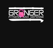 Classic logo in pink and white for Granger Fitness and Defense Womens Fitted T-Shirt