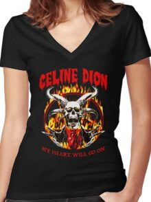 Celine Dion - my heart will go on Women's Fitted V-Neck T-Shirt