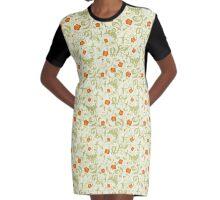 Orange Twinspur Graphic T-Shirt Dress