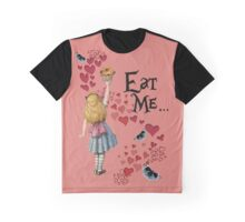 Alice in Wonderland,EAT ME Vintage Illustration Graphic T-Shirt