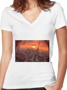 Futureworld Women's Fitted V-Neck T-Shirt