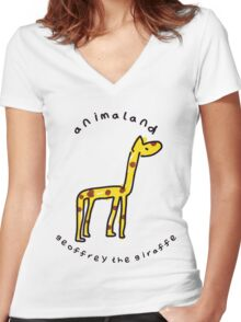 Geoffrey the Giraffe Women's Fitted V-Neck T-Shirt