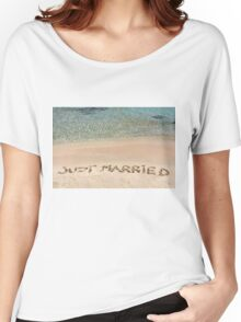 Just Married written in sand on a beautiful beach Women's Relaxed Fit T-Shirt