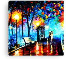 tardis in the rain Canvas Print